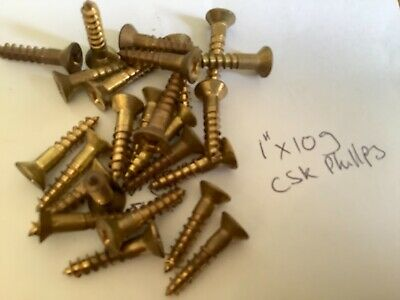 """BRASS WOOD SCREWS 1"""" x 10g Qty. 20 Countersunk Phillips ABLE COOKE🇦🇺"""