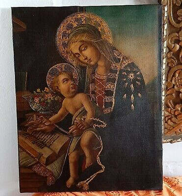 excellent painting, virgin with child, oil on old canvas, religious art
