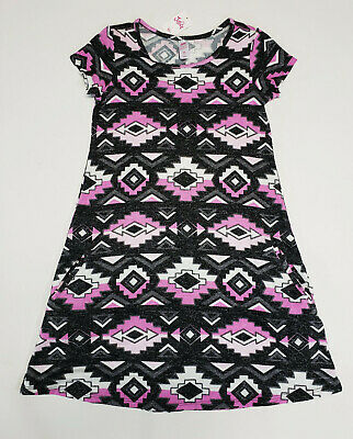 NWT Justice Kids Girls Size 12 Black & Pink Geometric Knit Pocket Dress