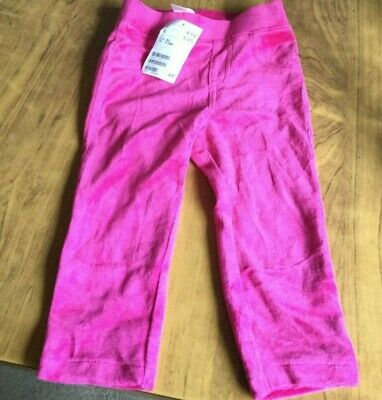 Girls velour type trousers pink.  Age 9-12 mth