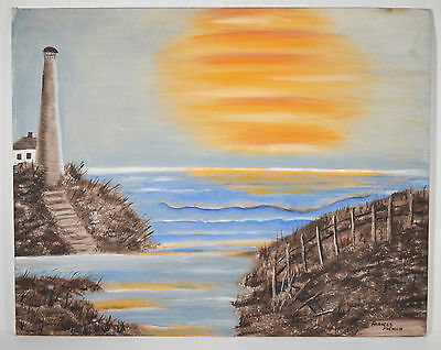 """19 1/2"""" Oil Painting on Canvas Board Signed Frances McEwen Lighthouse Sea Sunset"""