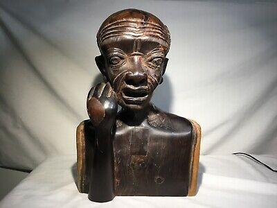 Antique Hand-Carved Mahogany ? Wood Bust African Tribal  Statue ESTATE FIND