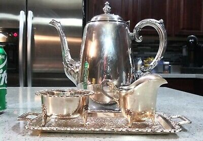 Silverplate Coffee Pot / Teapot WM Rogers with creamer sugar & tray  Vintage