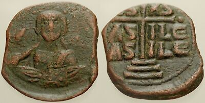 051. Byzantine Bronze Coin. CLASS B Anonymous AE-Follis. Constantinople. Christ