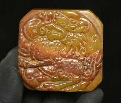 "2"" Old China Hongshan Culture Jade Stone Carved Kylin Seal Statue Amulet Pendant"