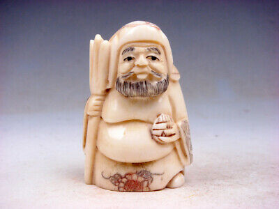 Japanese Detailed Hand Carved Netsuke Sculpture Warrior Holds Weapon #06111910