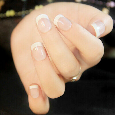 24Pcs Natural French Short False Nails Classical Full Artificial Nails for Home