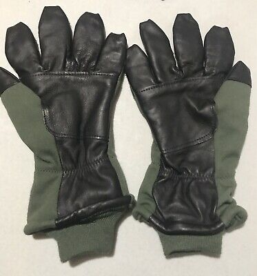US Army Pilot gloves flyers insulate intermediate cold weather Sz 11 Green black