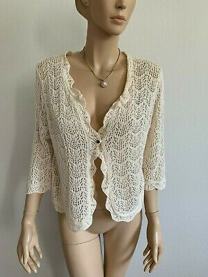 NEW LADIES CROCHET SHRUG BOLERO KNITTED CARDIGAN WOMENS TOP IN UK SIZES 8-26.