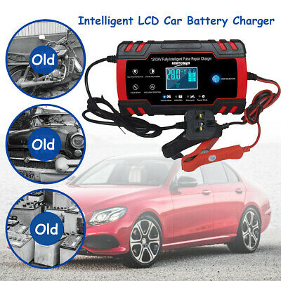 Automatic Electronic Car Battery Charger 12V/24V Fast/Trickle/Pulse Modes 8 A