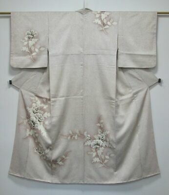 Vintage Japanese Ladies' Mauve/Beige Scattered Floral Tsukesage/Kimono/Robe XS/S