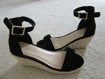 NEW LADIES WEDGE size 3 SANDALS ANKLE STRAP rrp £19.99 NEW LOOK / TEEN GIRLS