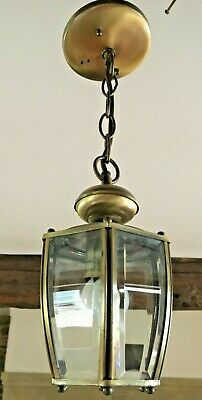 BRASS PENDANT LIGHT CURVED BEVELED GLASS ceiling LANTERN FRENCH CARRIAGE STYLE