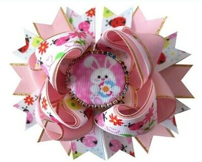"""100 BLESSING Girl 4.5"""" Easter Hair Bow Clip Colorful Rabbit Chicken Egg Baby"""