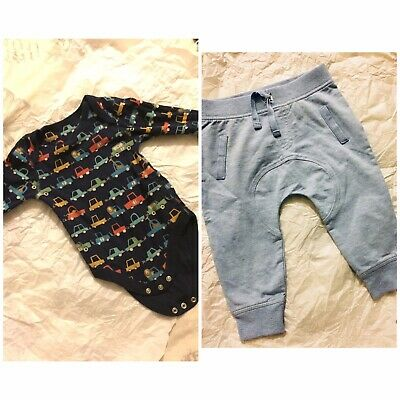 Baby Boys Blue Zoo New Trousers & M&s Vest Top Cars Set Age 9/12m