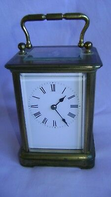 Antique Henri Acier Timepiece Carriage Clock + Key In Good Working Order