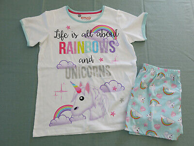 M&S girls emoji - unicorn short summer pyjamas 12 - 13 years BNWT £18