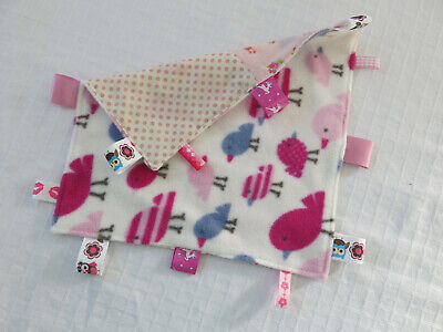 Baby Blankie / Comforter with Tags / Labels Pink 25cm square Brand New