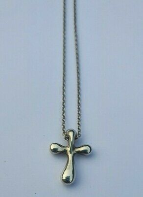 Tiffany & Co Elsa Peretti Silver/925 Religious Small Cross Chain Necklace-16""