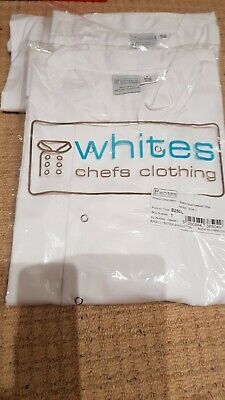 3 x White chefs jackets tops, size L, Brand New