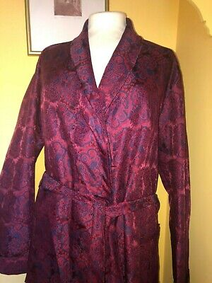 VINTAGE 60's 70's DRESSING GOWN SMOKING JACKET PAISLEY RED & BLUE SIZE XL