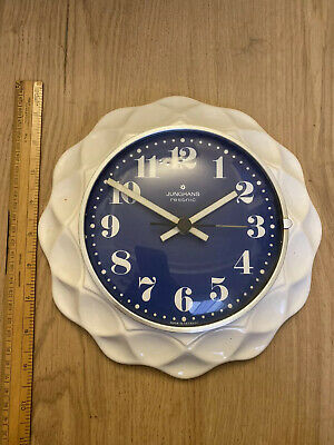 Junghans Resonic Germany Wall Clock Blue White Must See Rare Ceramic Working