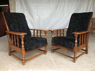 A pair of Edwardian oak plantation style Art Deco adjustable armchairs (ref 748)