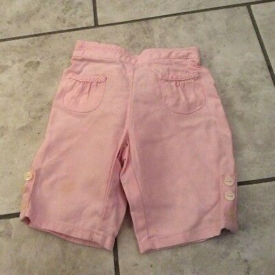 hardly wore Next baby girls linen mix pale pink trousers 6-9 mths