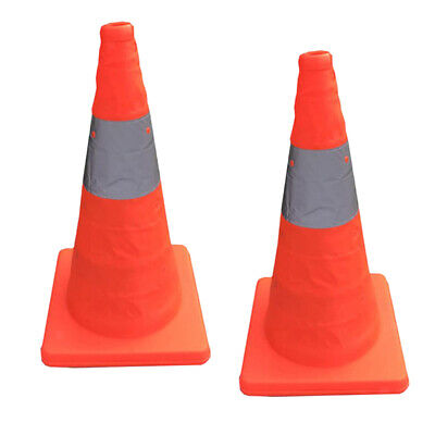 2 Pieces Collapsible Traffic Cones Multi Purpose Pop up Reflective Safety Cone