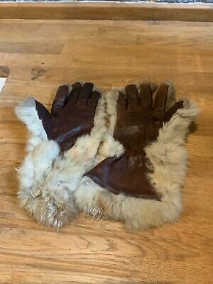 Vintage Leather And Rabbit (Lapin) Fur Gloves