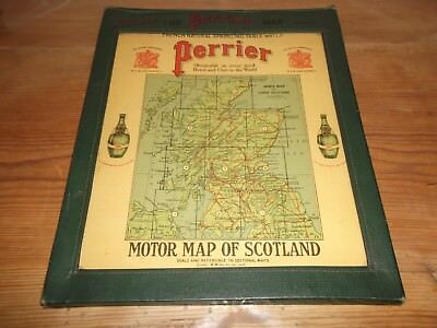 The Perrier Motor Map of Scotland c1922 11 Colour Regional Sheet Maps in Case