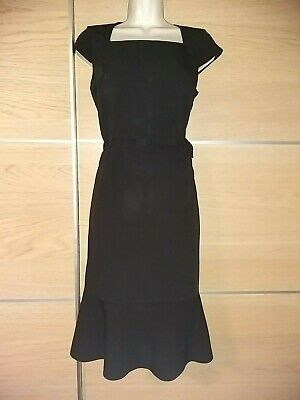 Ex Debenhams lined smart  dark red fitted wiggle dress office work party 8 to 14