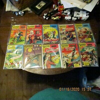 Lot of 10 Classic Illustrated Comic Books mostly sharp copies Lot C