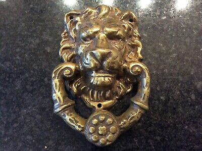Vintage Heavy BRASS DOOR KNOCKER - Lion Head