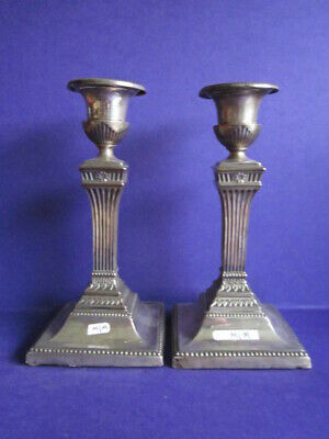 """A Good Pair Of Antique Sterling Silver Candlesticks 6 1/2"""" Tall"""