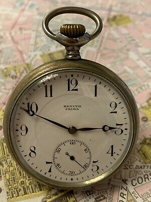 Zenith Prima Metal Blanc High Grade Mov Pocket Watch Orologio Tasca 1920