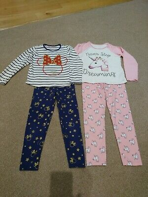 Age 6-7 Girls Pyjamas Bundle PJs Sleep Wear Unicorn Minnie Mouse