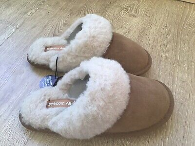 Womens Bedroom Athletics Kimberly Trace Grey Fluffy Mule Slippers Sz Size