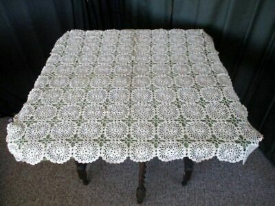 "VINTAGE HAND CROCHET TABLECLOTH ~ 30""sq. ~ ECRU ~ UNUSED."