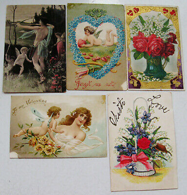 Lot Of 5 Vintage Valentine Postcards As Found
