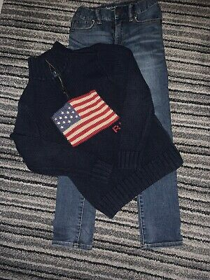 Boys Blue Ralph Lauren Zip Polo Jumper/sweater Age 8 And Skinny Jeans Gap Age 8