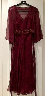 MONSOON Silk Chiffon Evening Midi Dark Red Dress With Sequins VGC Size 8
