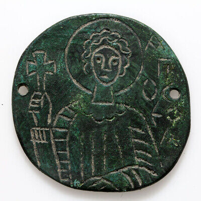 Scarce-Circa 1000-1300 Ad Ad Byzantine Bronze Round Icon With Saint Depiction