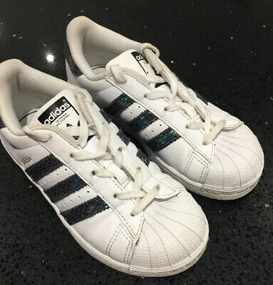 Girls Adidas Superstar Trainers. Holographic. Size 11. Excellent Cond