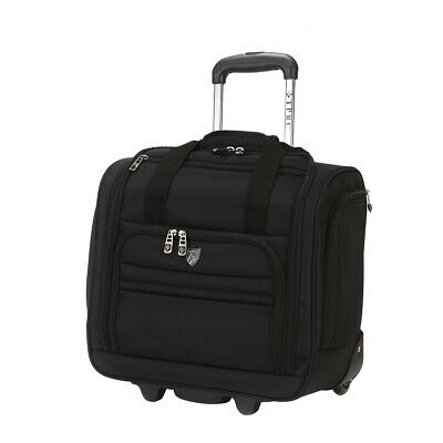 Rolling Carry On Travel Luggage underseat In Line Skate Wheels rugged black new