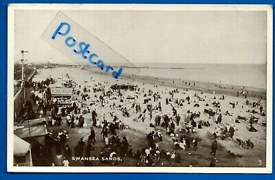 Old Postcard Swansea Sands / Beach Glamorgan Nr Mumbles Neath Port Talbot Sketty