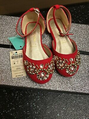 BNWT MONSOON GIRLS RED EMBELLISHED PARTY SHOES UK Younger  7