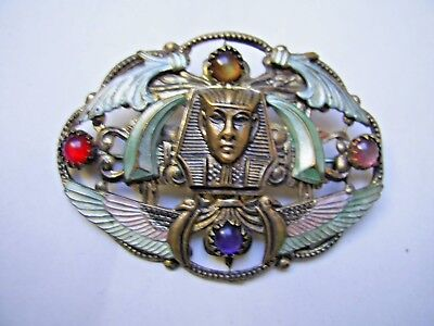 Vintage Art Deco Quality  Egyptian Revival Czech. Brooch Gilded W. Stones