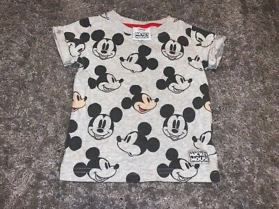 Baby Boys Clothes next grey top Mickey Mouse motifs age 3-6 months