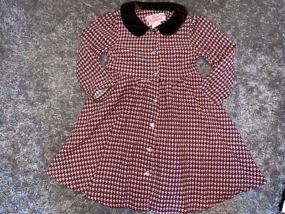 Baby Girls Clothes pink/brown dress brown collar button detail age 18-24 months